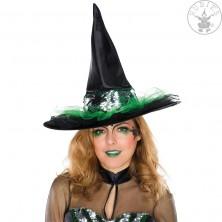 Čarodějnický klobouk s flitrovým pásem