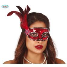 Červená flitrová maska s peřím