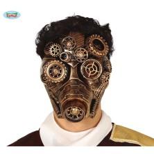 Maska zlatá s kolečky STEAMPUNK