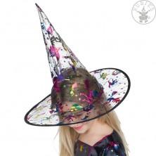 Čarodějnický dětský klobouk s metalickým potiskem