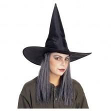 Čarodějnický klobouk šusťák s vlasy