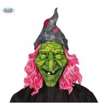 Maska velká čarodějnice s růžovými vlasy
