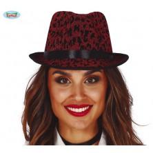 Červený leopardní klobouk