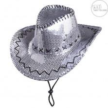 Flitrový klobouk kovbojský stříbrný