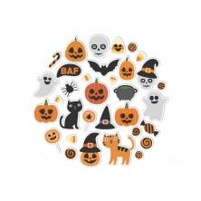 Halloweenská sada nálepek v kruhu