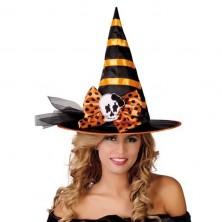Černo-oranžový čarodějnický klobouk