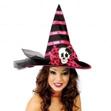 Černo-růžový čarodějnický klobouk