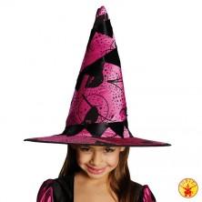 Dětský čarodějnický klobouk vínový s motivem
