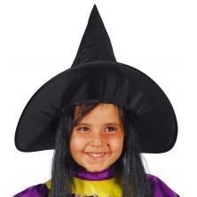 Klobouk čarodějnický dětský s vlasy