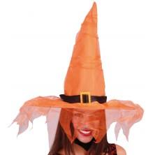 Oranžový klobouk s tylem