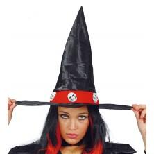 Čarodějnický klobouk s lebkami