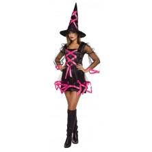 Čarodějnice s kloboukem černo růžová