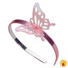 Čelenka růžová s motýlkem