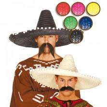 Mexický klobouk barevný 61 cm - černá