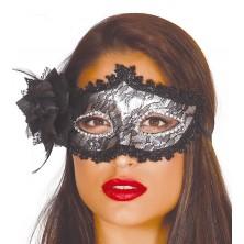 Maska s květinou stříbrná