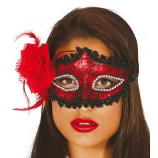 Maska s květinou červená