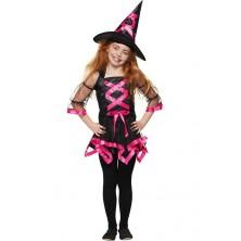 Čarodějka s kloboukem neonově růžová