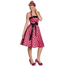 Růžovo-černé šaty z 50-tých let