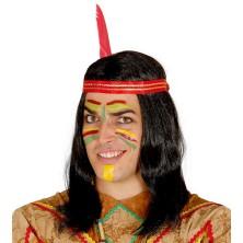 Indiánská pánská paruka s čelenkou