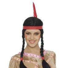 Indiánská dámská paruka s čelenkou