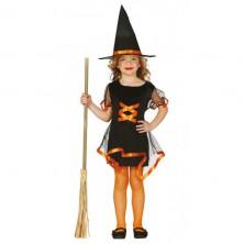 Kostým černo-oranžová čarodějnice