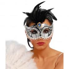 Maska stříbrná s peřím
