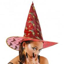 Čarodějnický klobouk červený s netopýry