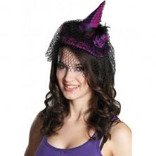 Čarodějnický klobouček s vlasovou sponou fialový